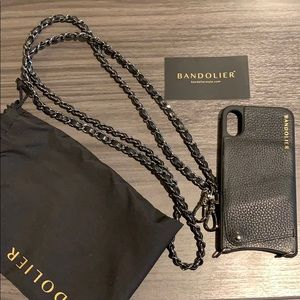 Bandolier iPhone 10s case with strap gunmetal
